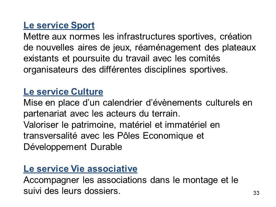 33 Le service Sport Mettre aux normes les infrastructures sportives, création de nouvelles aires de jeux, réaménagement des plateaux existants et pour