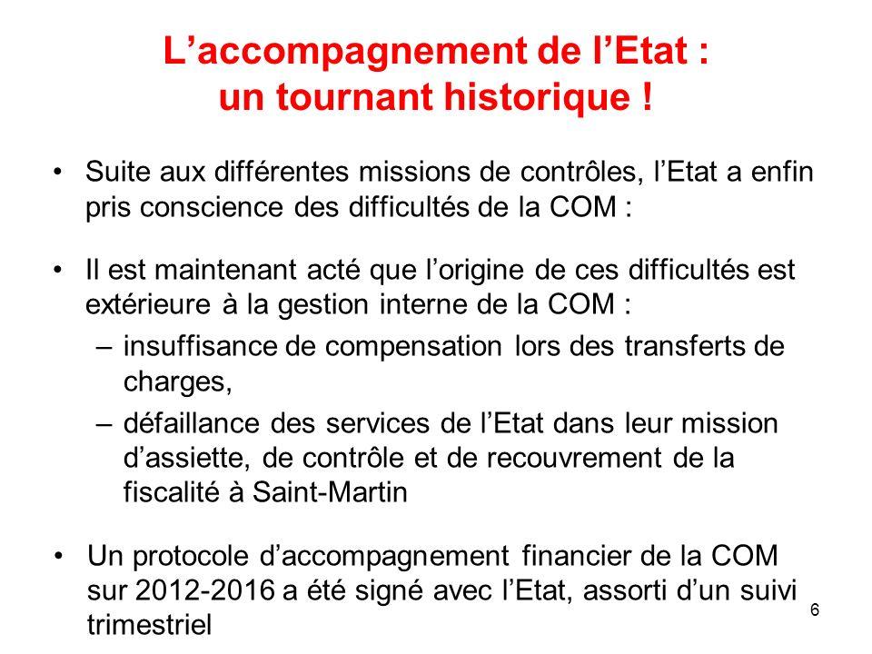 Laccompagnement de lEtat : un tournant historique ! Suite aux différentes missions de contrôles, lEtat a enfin pris conscience des difficultés de la C