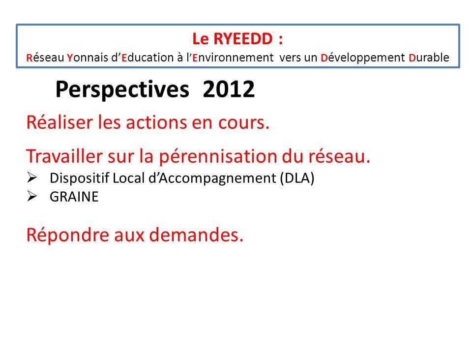 Le RYEEDD : R éseau Y onnais d E ducation à lE nvironnement vers un D éveloppement D urable Réaliser les actions en cours. Travailler sur la pérennisa
