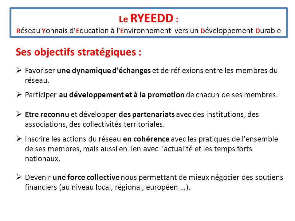 Le RYEEDD : R éseau Y onnais d E ducation à lE nvironnement vers un D éveloppement D urable Ses objectifs stratégiques : Favoriser une dynamique d'éch