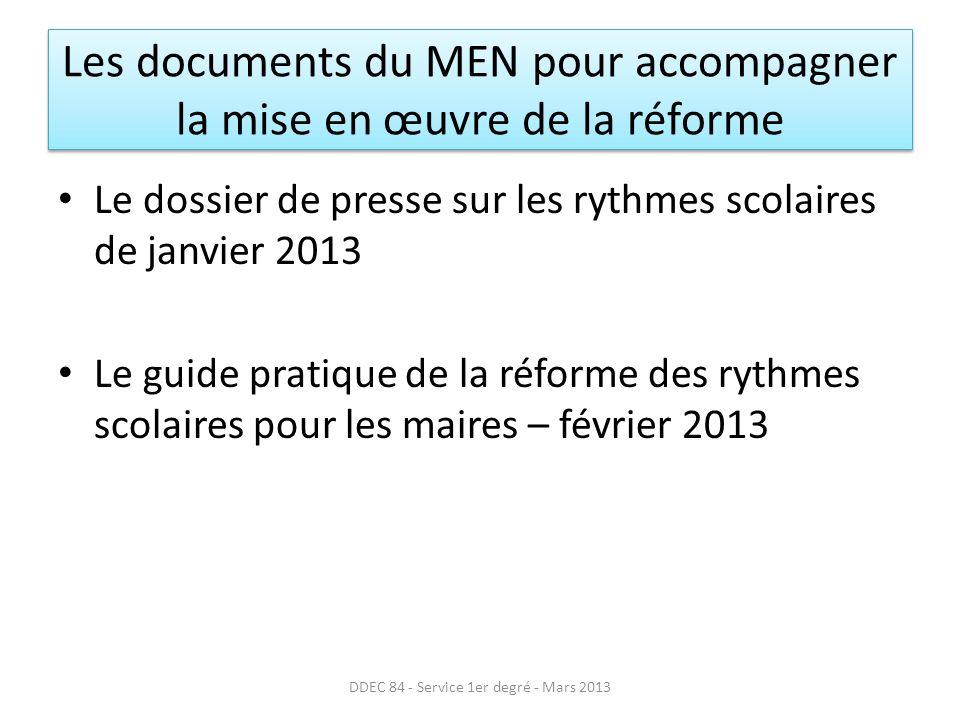 Les recommandations du SGEC (suite) Volonté davoir des temps de concertation et de réflexion avec lensemble des partenaires de lécole Le calendrier de mise en œuvre na que peu dimportance (2013 ou 2014).