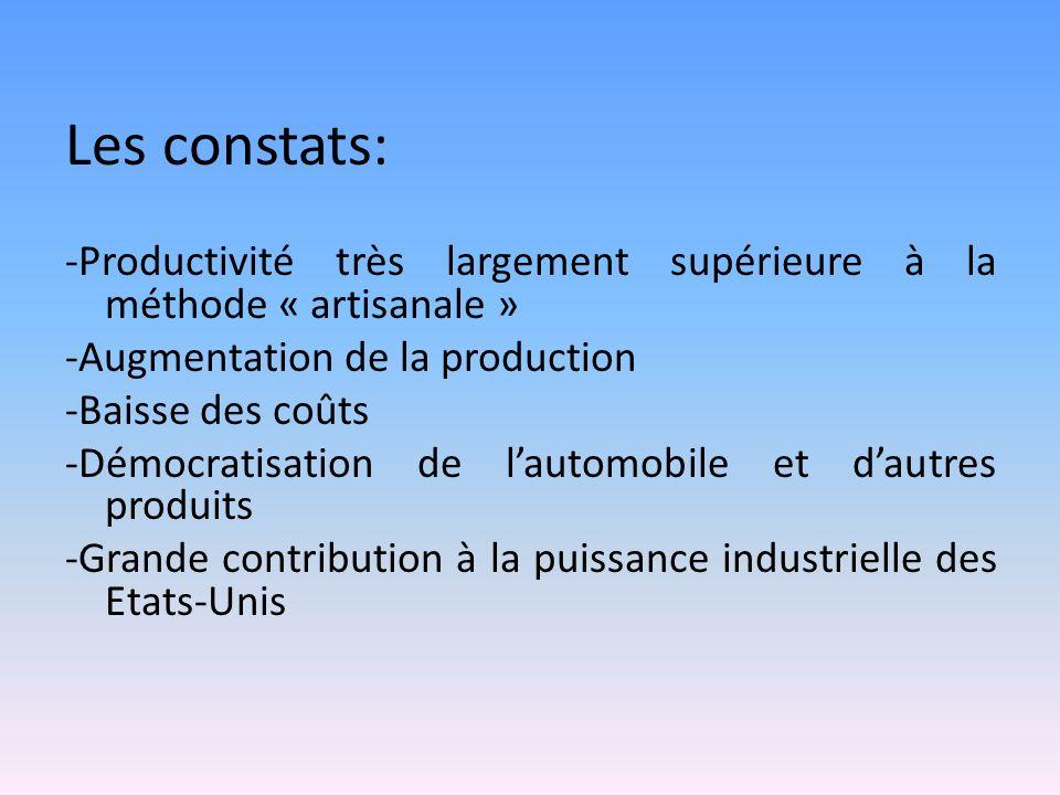 Les constats: -Productivité très largement supérieure à la méthode « artisanale » -Augmentation de la production -Baisse des coûts -Démocratisation de