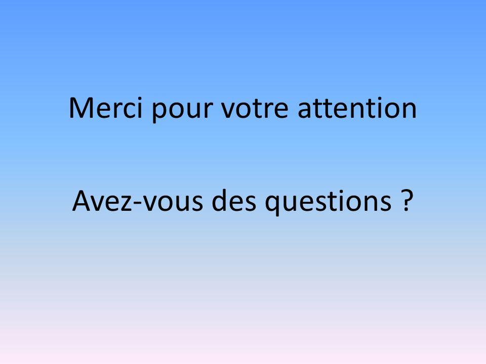 Merci pour votre attention Avez-vous des questions ?
