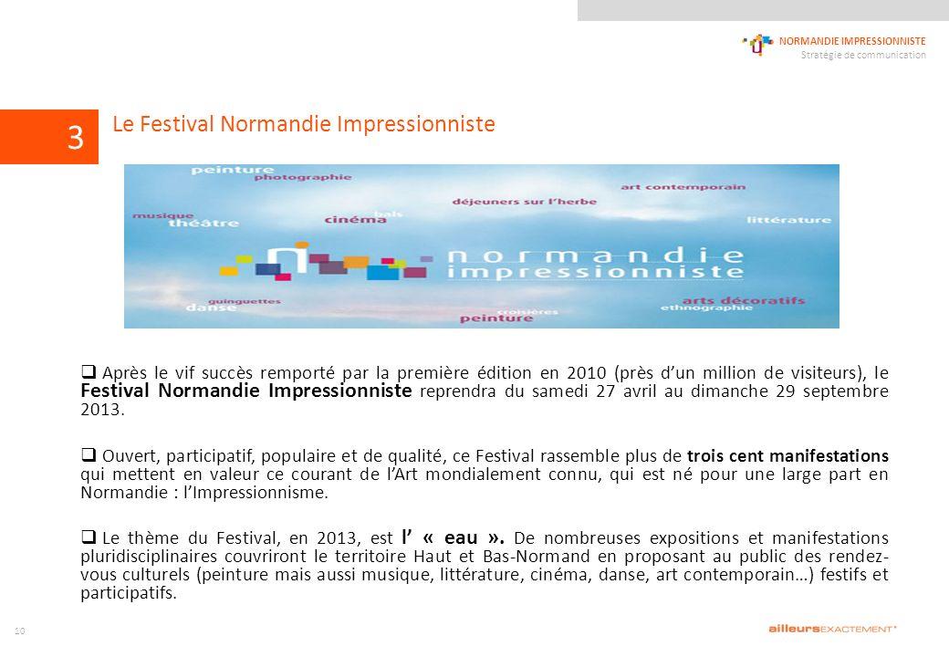 124567839 NORMANDIE IMPRESSIONNISTE Stratégie de communication 1011 Après le vif succès remporté par la première édition en 2010 (près dun million de visiteurs), le Festival Normandie Impressionniste reprendra du samedi 27 avril au dimanche 29 septembre 2013.