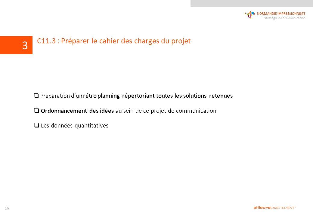124567839 NORMANDIE IMPRESSIONNISTE Stratégie de communication 1011 C11.3 : Préparer le cahier des charges du projet Préparation dun rétro planning ré