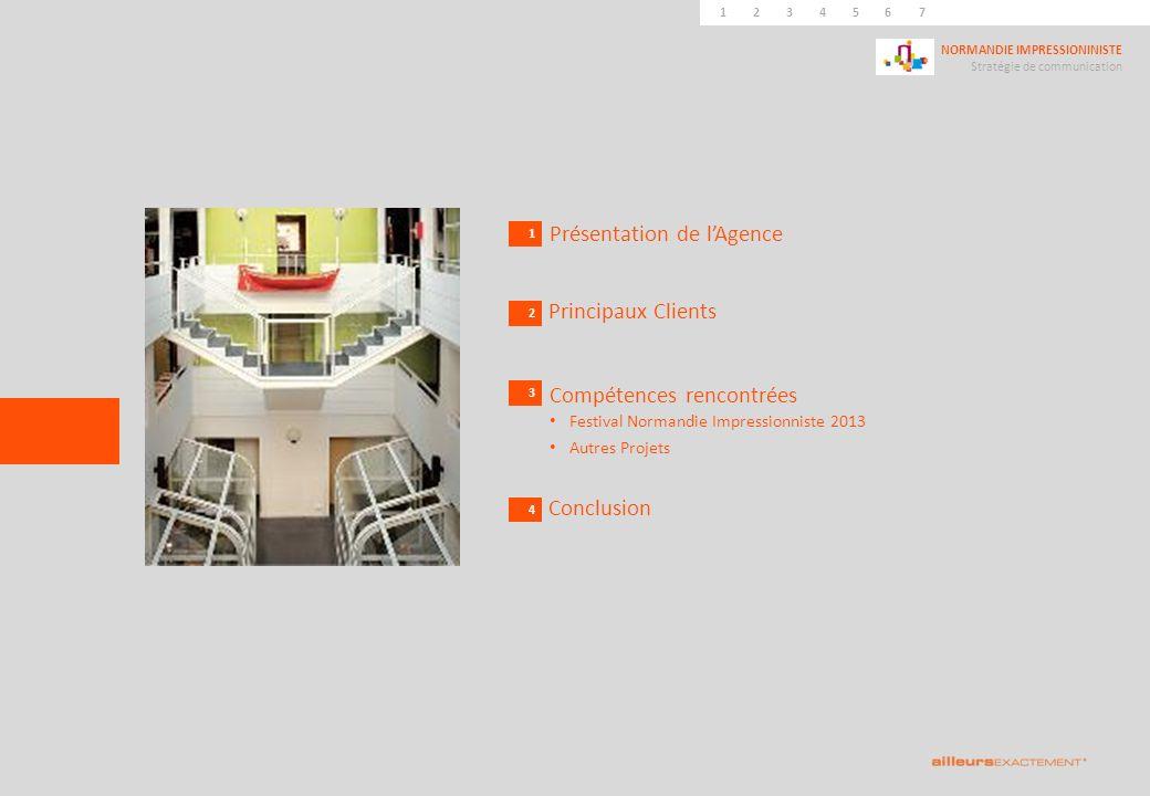 124567839 NORMANDIE IMPRESSIONINISTE Stratégie de communication 10111245673 1 Présentation de lAgence 2 Principaux Clients 3 4 Compétences rencontrées Festival Normandie Impressionniste 2013 Autres Projets Conclusion