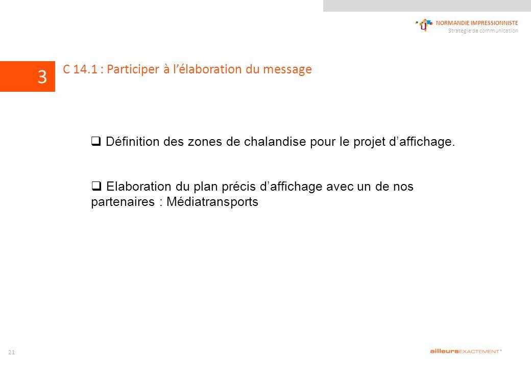 124567839 NORMANDIE IMPRESSIONNISTE Stratégie de communication 1011 C 14.1 : Participer à lélaboration du message 3 21 Définition des zones de chalandise pour le projet daffichage.