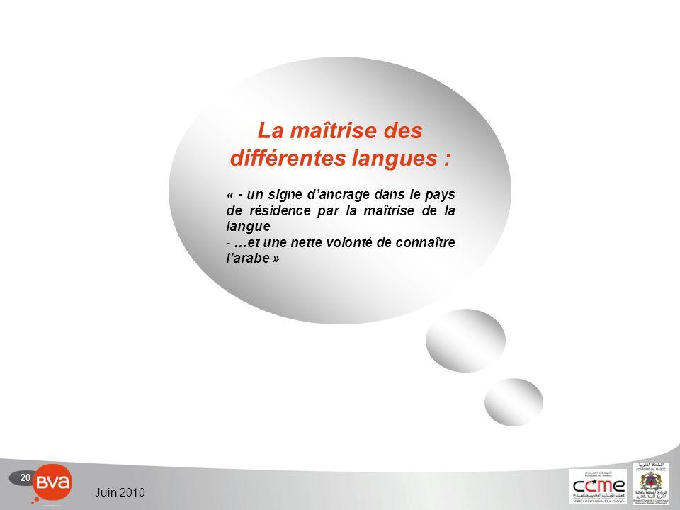 20 Juin 2010 La maîtrise des différentes langues : « - un signe dancrage dans le pays de résidence par la maîtrise de la langue - …et une nette volonté de connaître larabe »
