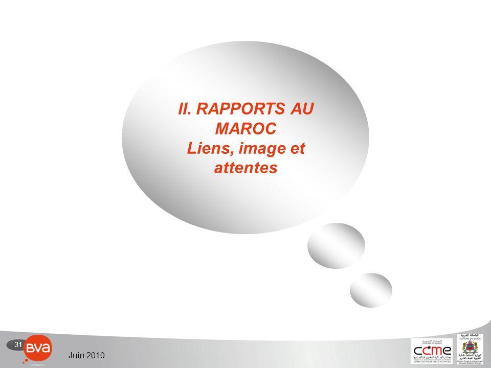 31 Juin 2010 II. RAPPORTS AU MAROC Liens, image et attentes