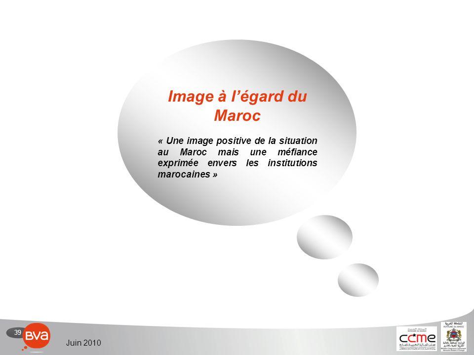 39 Juin 2010 Image à légard du Maroc « Une image positive de la situation au Maroc mais une méfiance exprimée envers les institutions marocaines »