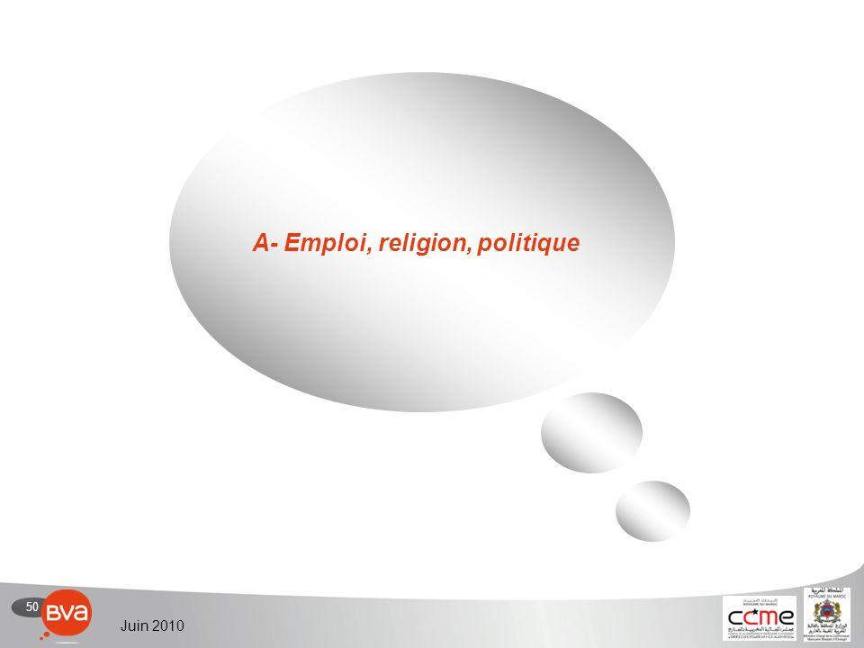 50 Juin 2010 A- Emploi, religion, politique
