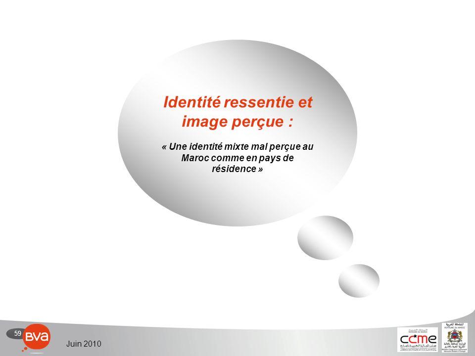 59 Juin 2010 Identité ressentie et image perçue : « Une identité mixte mal perçue au Maroc comme en pays de résidence »