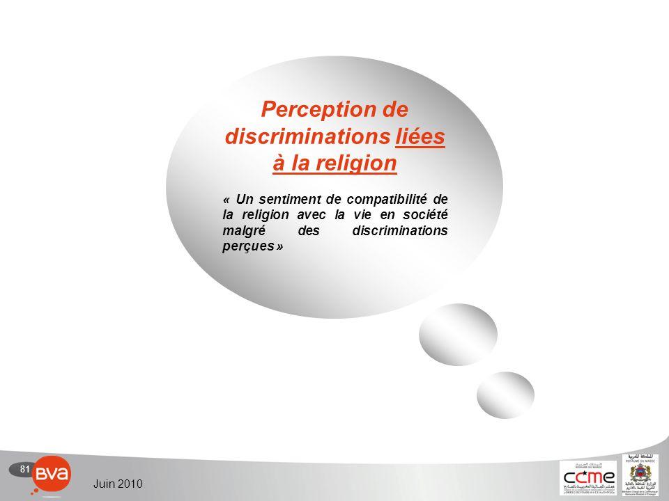81 Juin 2010 Perception de discriminations liées à la religion « Un sentiment de compatibilité de la religion avec la vie en société malgré des discriminations perçues »