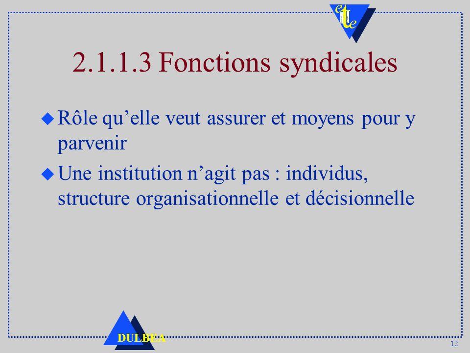 12 DULBEA 2.1.1.3 Fonctions syndicales u Rôle quelle veut assurer et moyens pour y parvenir u Une institution nagit pas : individus, structure organis