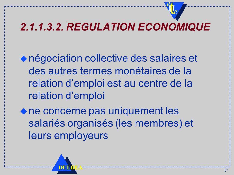 17 DULBEA 2.1.1.3.2. REGULATION ECONOMIQUE u négociation collective des salaires et des autres termes monétaires de la relation demploi est au centre