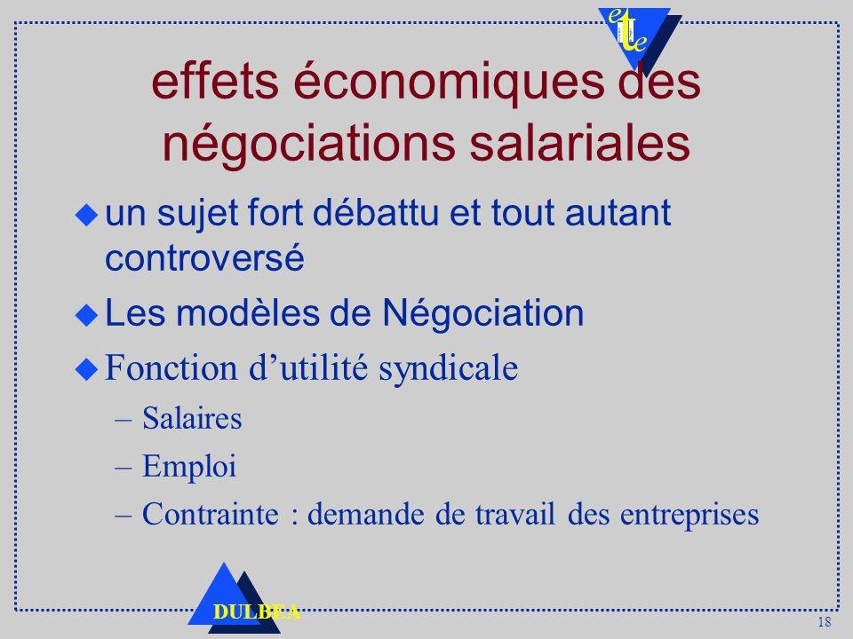 18 DULBEA effets économiques des négociations salariales un sujet fort débattu et tout autant controversé Les modèles de Négociation u Fonction dutili