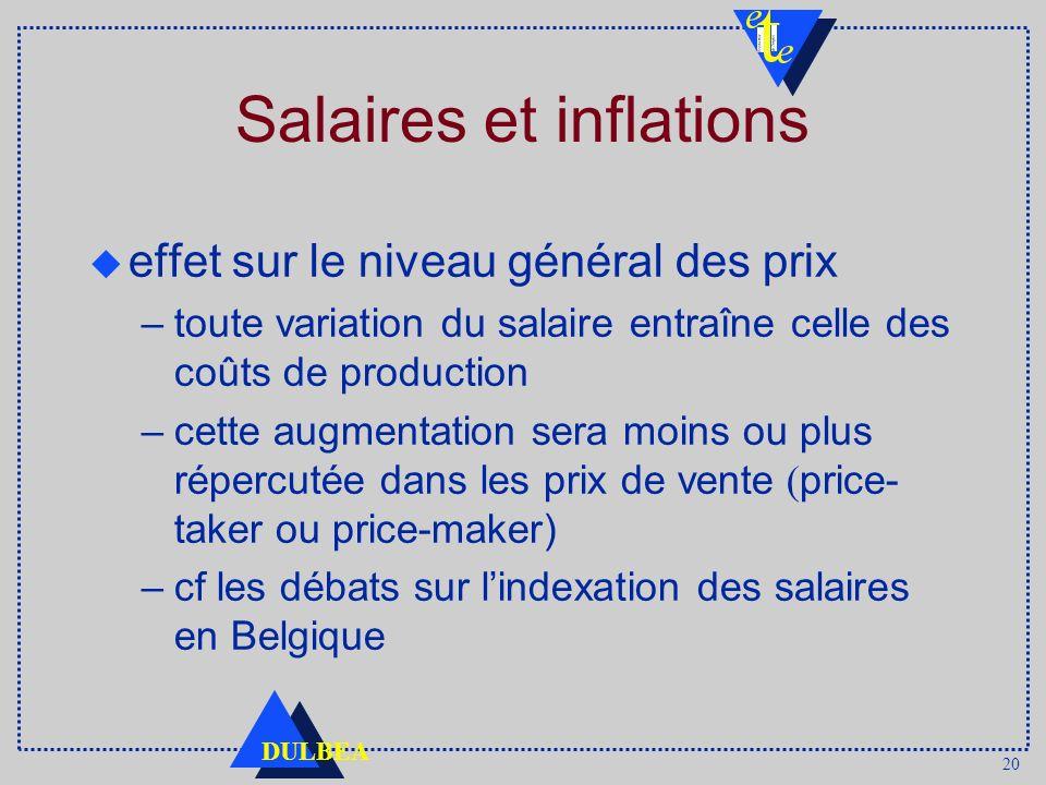 20 DULBEA Salaires et inflations effet sur le niveau général des prix –toute variation du salaire entraîne celle des coûts de production –cette augmen