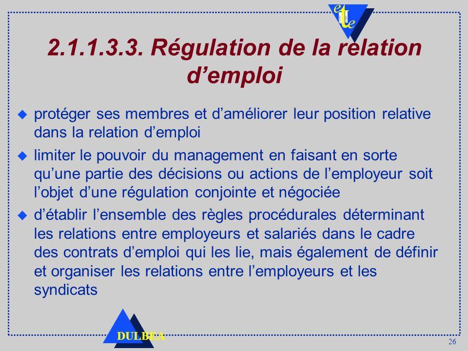 26 DULBEA 2.1.1.3.3. Régulation de la relation demploi protéger ses membres et daméliorer leur position relative dans la relation demploi limiter le p