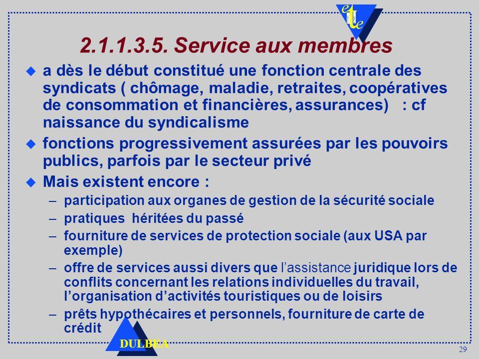 29 DULBEA 2.1.1.3.5. Service aux membres a dès le début constitué une fonction centrale des syndicats ( chômage, maladie, retraites, coopératives de c