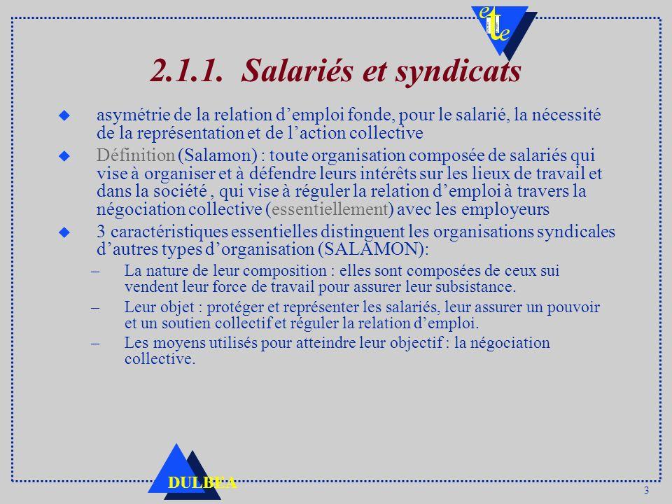 3 DULBEA 2.1.1. Salariés et syndicats u asymétrie de la relation demploi fonde, pour le salarié, la nécessité de la représentation et de laction colle