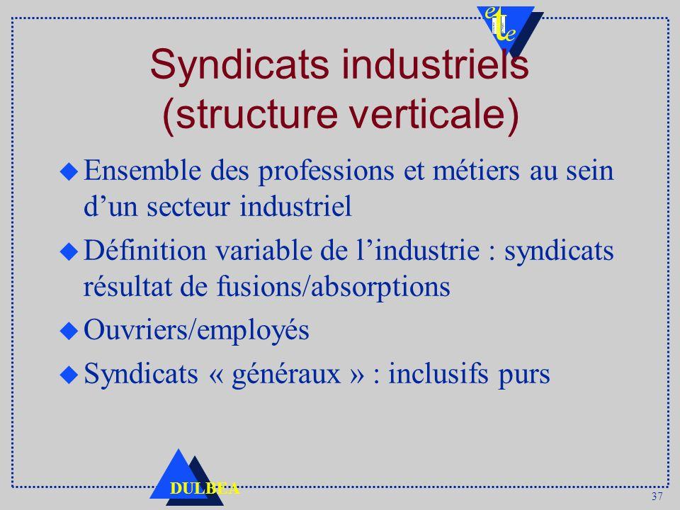 37 DULBEA Syndicats industriels (structure verticale) u Ensemble des professions et métiers au sein dun secteur industriel u Définition variable de lindustrie : syndicats résultat de fusions/absorptions u Ouvriers/employés u Syndicats « généraux » : inclusifs purs
