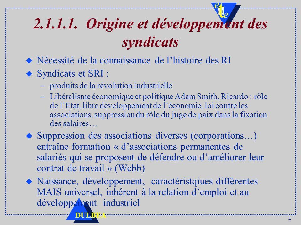 4 DULBEA 2.1.1.1. Origine et développement des syndicats u Nécessité de la connaissance de lhistoire des RI u Syndicats et SRI : –produits de la révol