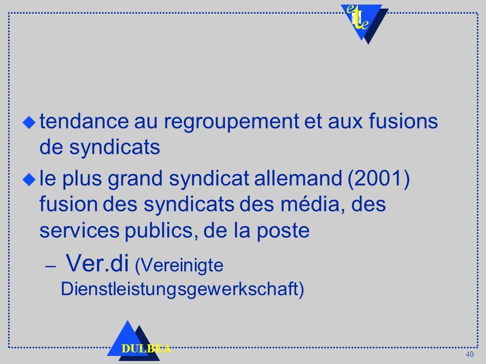 40 DULBEA tendance au regroupement et aux fusions de syndicats u le plus grand syndicat allemand (2001) fusion des syndicats des média, des services p