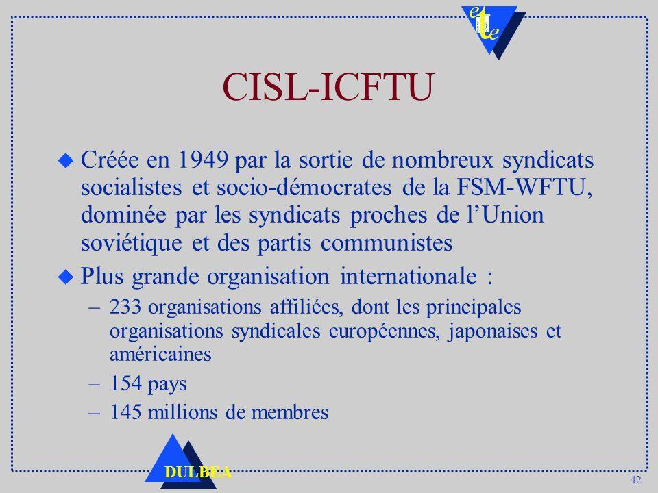 42 DULBEA CISL-ICFTU u Créée en 1949 par la sortie de nombreux syndicats socialistes et socio-démocrates de la FSM-WFTU, dominée par les syndicats proches de lUnion soviétique et des partis communistes u Plus grande organisation internationale : –233 organisations affiliées, dont les principales organisations syndicales européennes, japonaises et américaines –154 pays –145 millions de membres