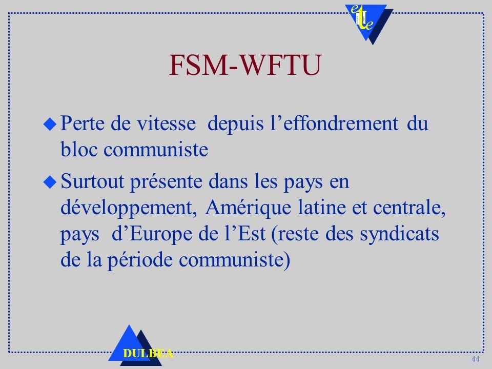 44 DULBEA FSM-WFTU u Perte de vitesse depuis leffondrement du bloc communiste u Surtout présente dans les pays en développement, Amérique latine et centrale, pays dEurope de lEst (reste des syndicats de la période communiste)