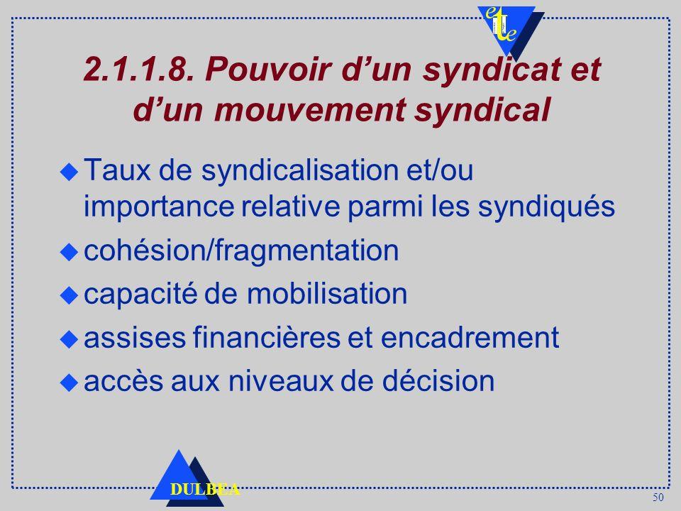 50 DULBEA 2.1.1.8. Pouvoir dun syndicat et dun mouvement syndical Taux de syndicalisation et/ou importance relative parmi les syndiqués cohésion/fragm
