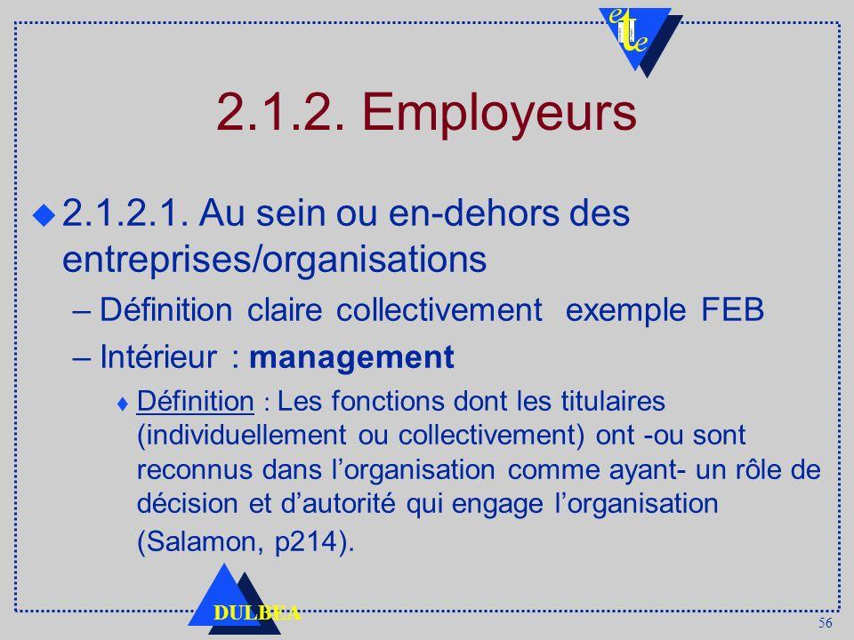 56 DULBEA 2.1.2. Employeurs u 2.1.2.1. Au sein ou en-dehors des entreprises/organisations –Définition claire collectivement exemple FEB –Intérieur : m