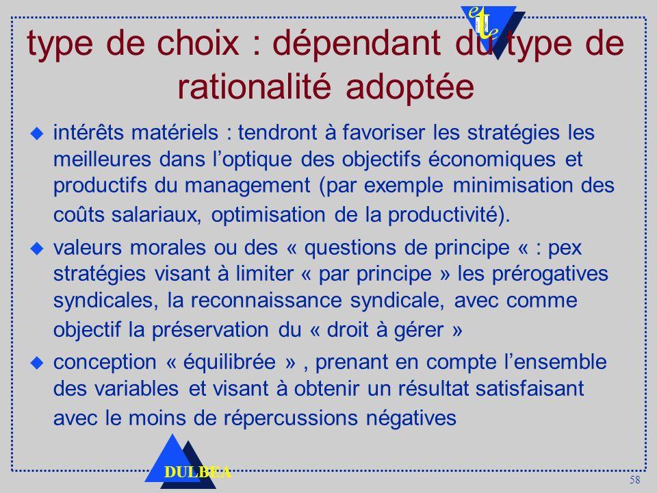 58 DULBEA type de choix : dépendant du type de rationalité adoptée intérêts matériels : tendront à favoriser les stratégies les meilleures dans loptiq