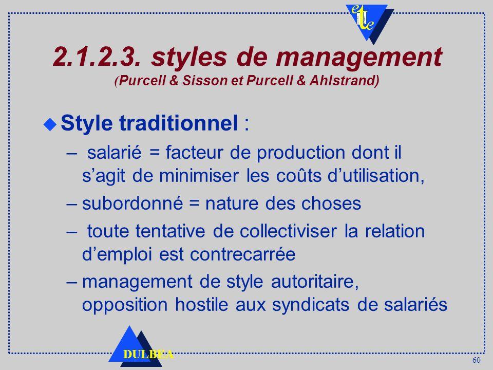 60 DULBEA 2.1.2.3. styles de management ( Purcell & Sisson et Purcell & Ahlstrand) u Style traditionnel : – salarié = facteur de production dont il sa