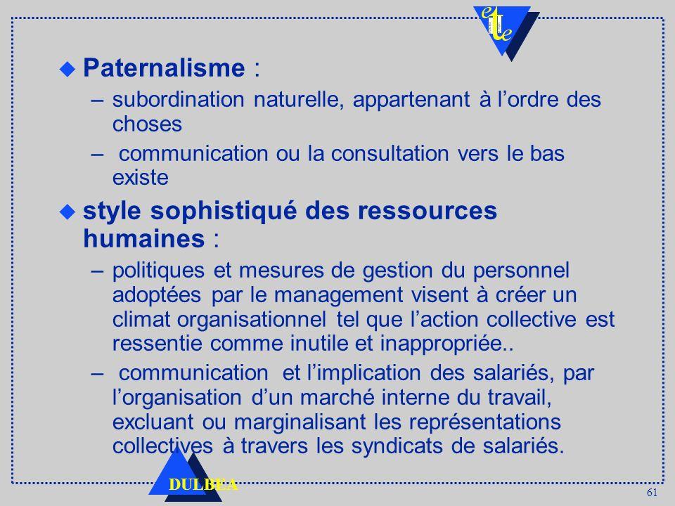 61 DULBEA u Paternalisme : –subordination naturelle, appartenant à lordre des choses – communication ou la consultation vers le bas existe u style sop