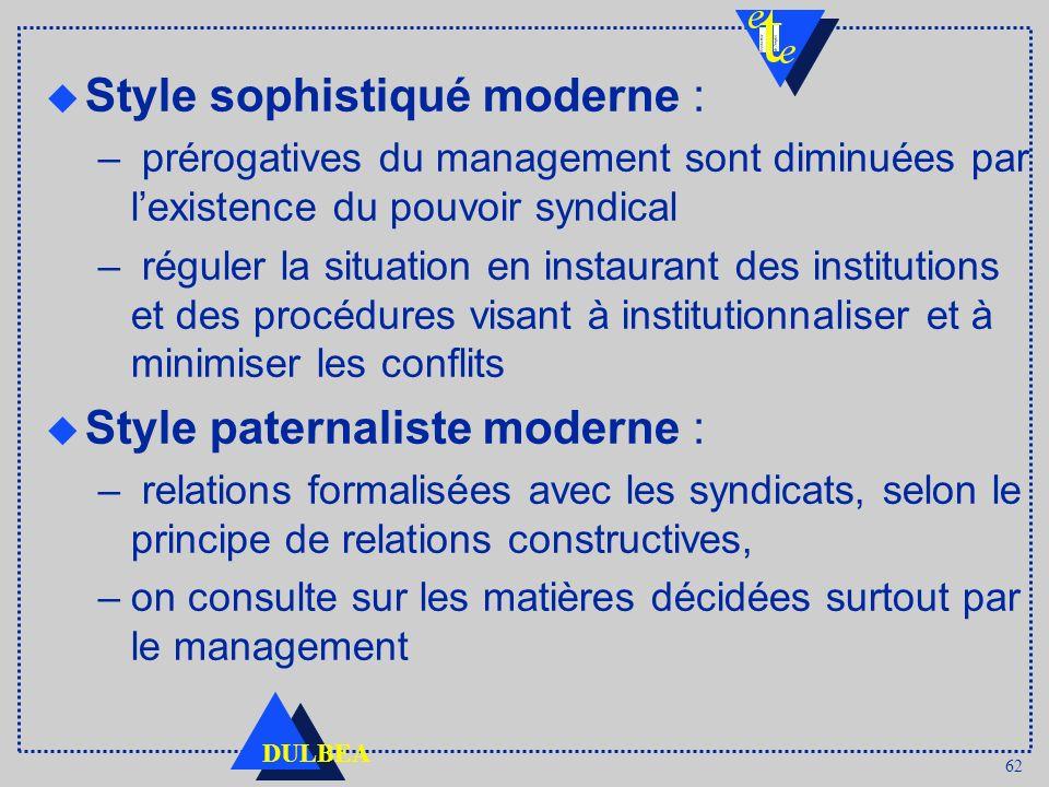 62 DULBEA u Style sophistiqué moderne : – prérogatives du management sont diminuées par lexistence du pouvoir syndical – réguler la situation en insta