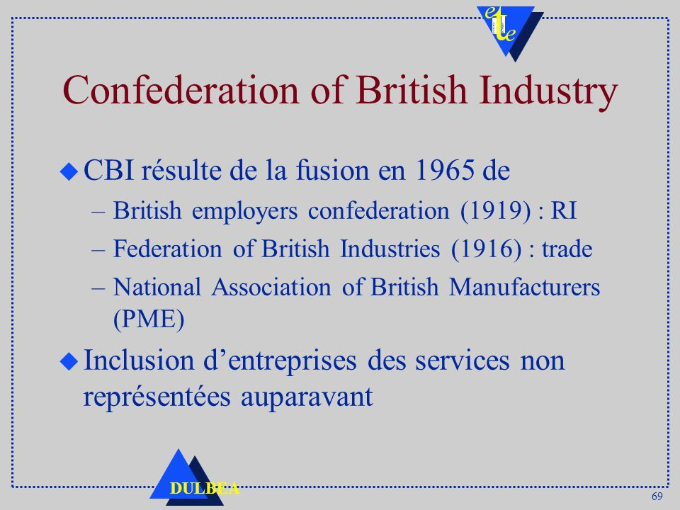 69 DULBEA Confederation of British Industry u CBI résulte de la fusion en 1965 de –British employers confederation (1919) : RI –Federation of British Industries (1916) : trade –National Association of British Manufacturers (PME) u Inclusion dentreprises des services non représentées auparavant