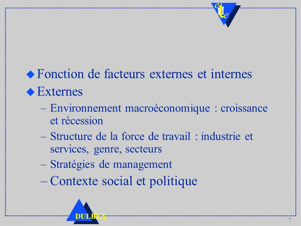 7 DULBEA u Fonction de facteurs externes et internes u Externes –Environnement macroéconomique : croissance et récession –Structure de la force de tra