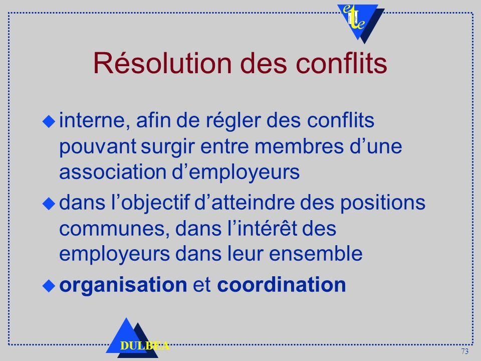 73 DULBEA Résolution des conflits u interne, afin de régler des conflits pouvant surgir entre membres dune association demployeurs dans lobjectif datteindre des positions communes, dans lintérêt des employeurs dans leur ensemble organisation et coordination