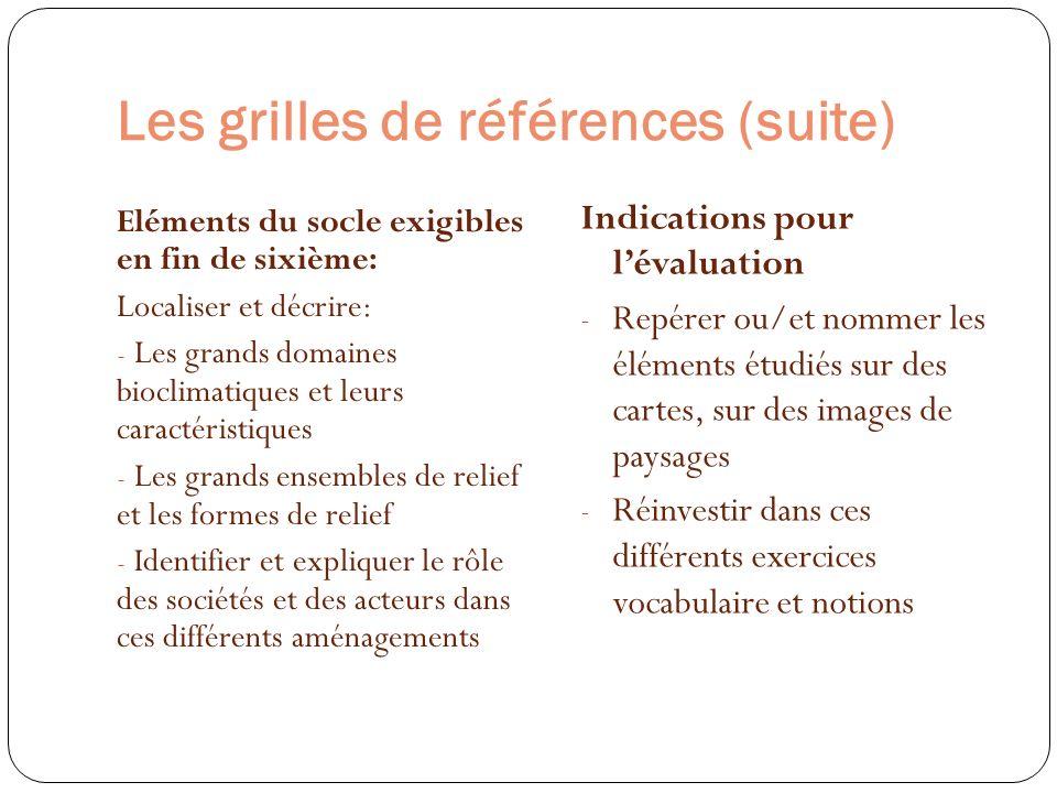Les grilles de références (suite) Eléments du socle exigibles en fin de sixième: Localiser et décrire: - Les grands domaines bioclimatiques et leurs c