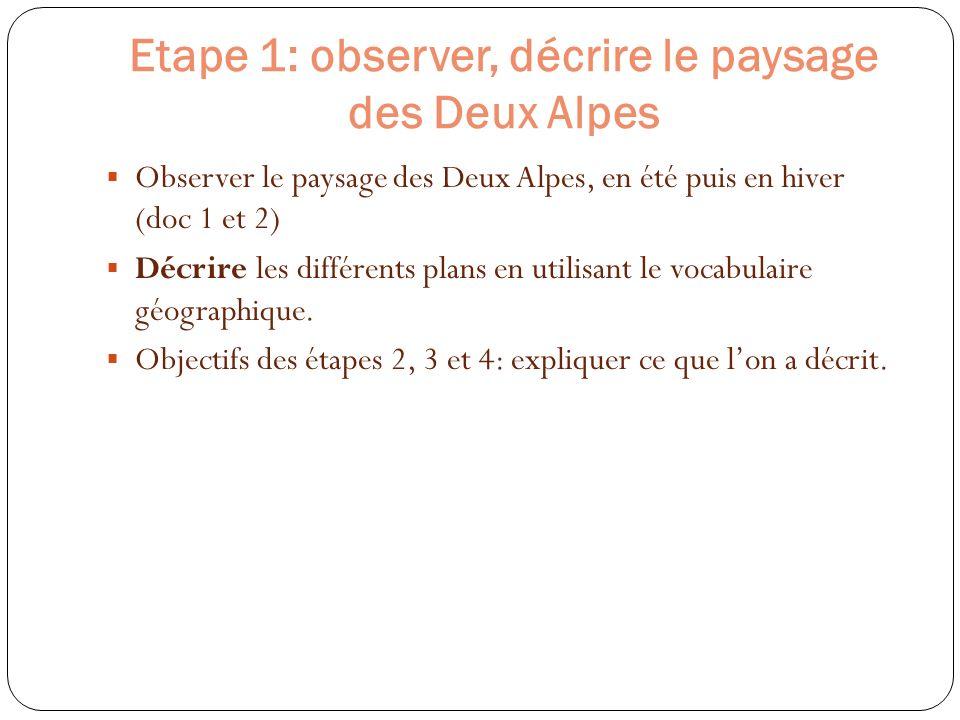 Etape 1: observer, décrire le paysage des Deux Alpes Observer le paysage des Deux Alpes, en été puis en hiver (doc 1 et 2) Décrire les différents plan
