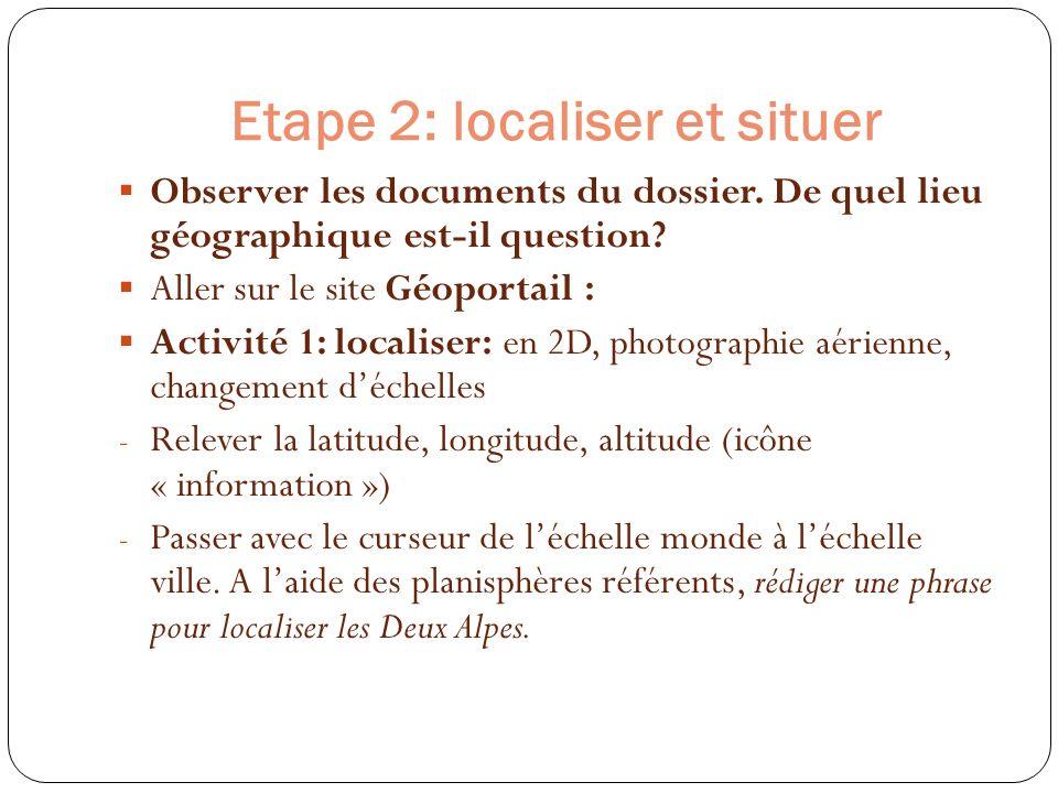Etape 2: localiser et situer Observer les documents du dossier. De quel lieu géographique est-il question? Aller sur le site Géoportail : Activité 1:
