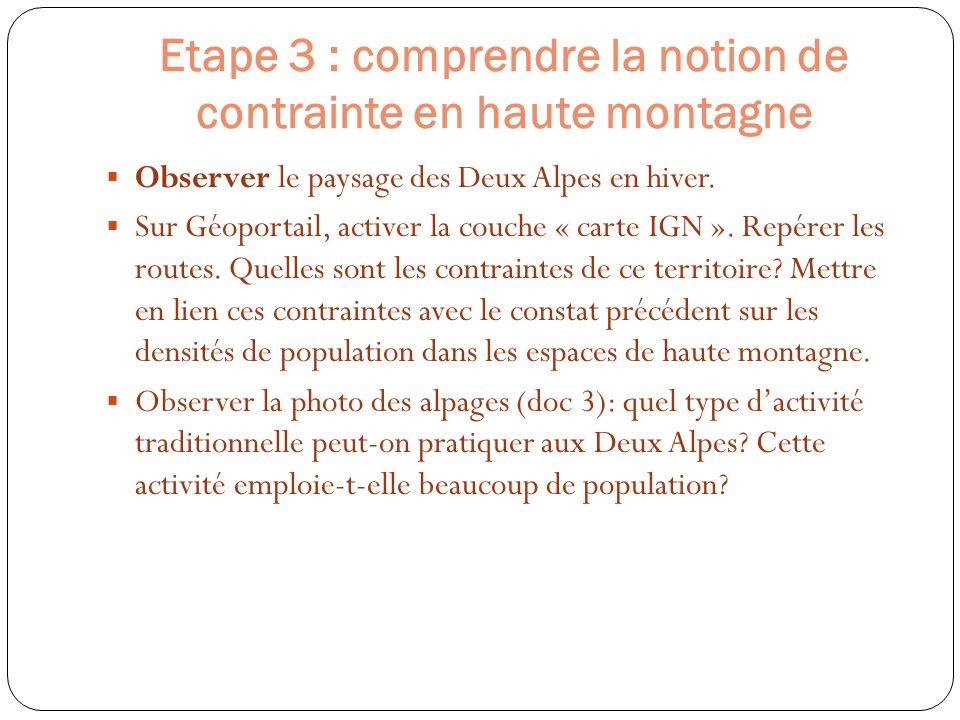Etape 3 : comprendre la notion de contrainte en haute montagne Observer le paysage des Deux Alpes en hiver. Sur Géoportail, activer la couche « carte