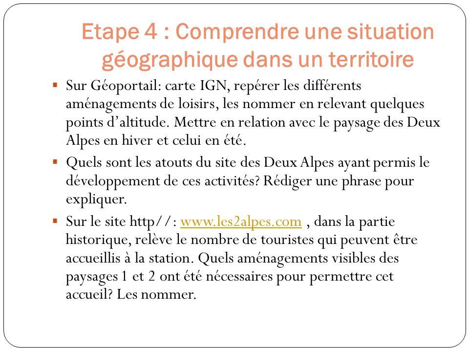Etape 4 : Comprendre une situation géographique dans un territoire Sur Géoportail: carte IGN, repérer les différents aménagements de loisirs, les nomm