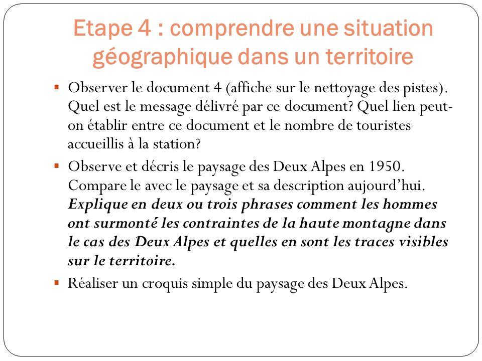 Etape 4 : comprendre une situation géographique dans un territoire Observer le document 4 (affiche sur le nettoyage des pistes). Quel est le message d