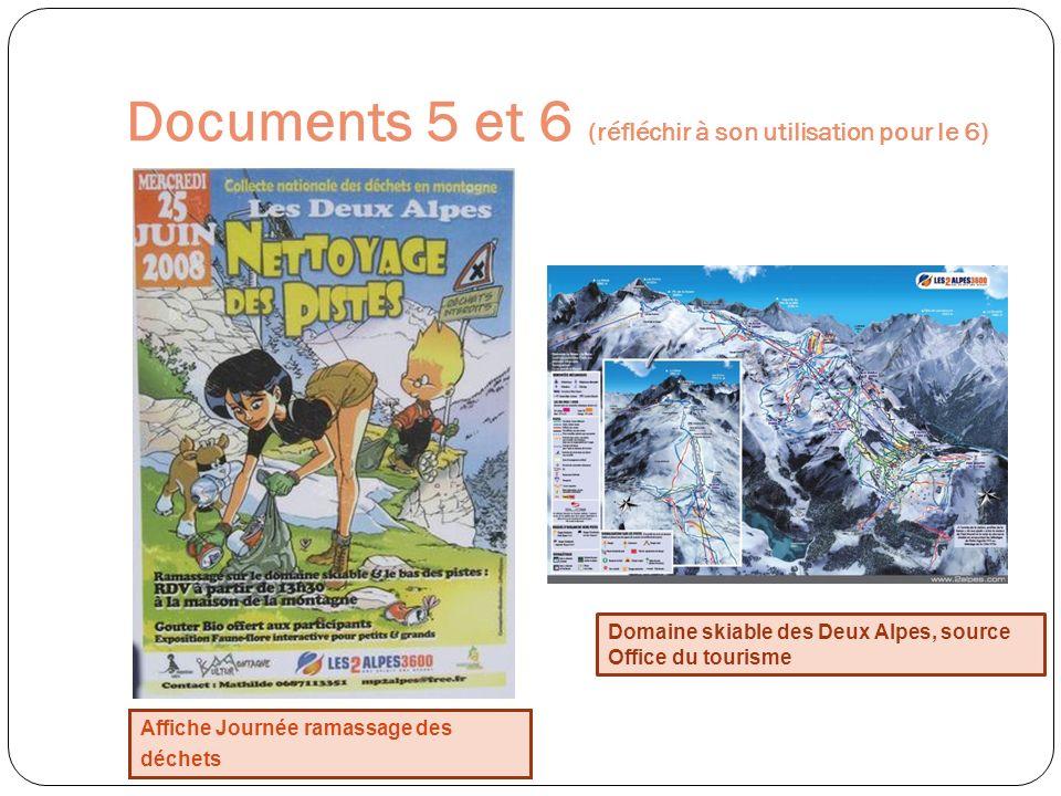 Documents 5 et 6 (réfléchir à son utilisation pour le 6) Affiche Journée ramassage des déchets Domaine skiable des Deux Alpes, source Office du touris