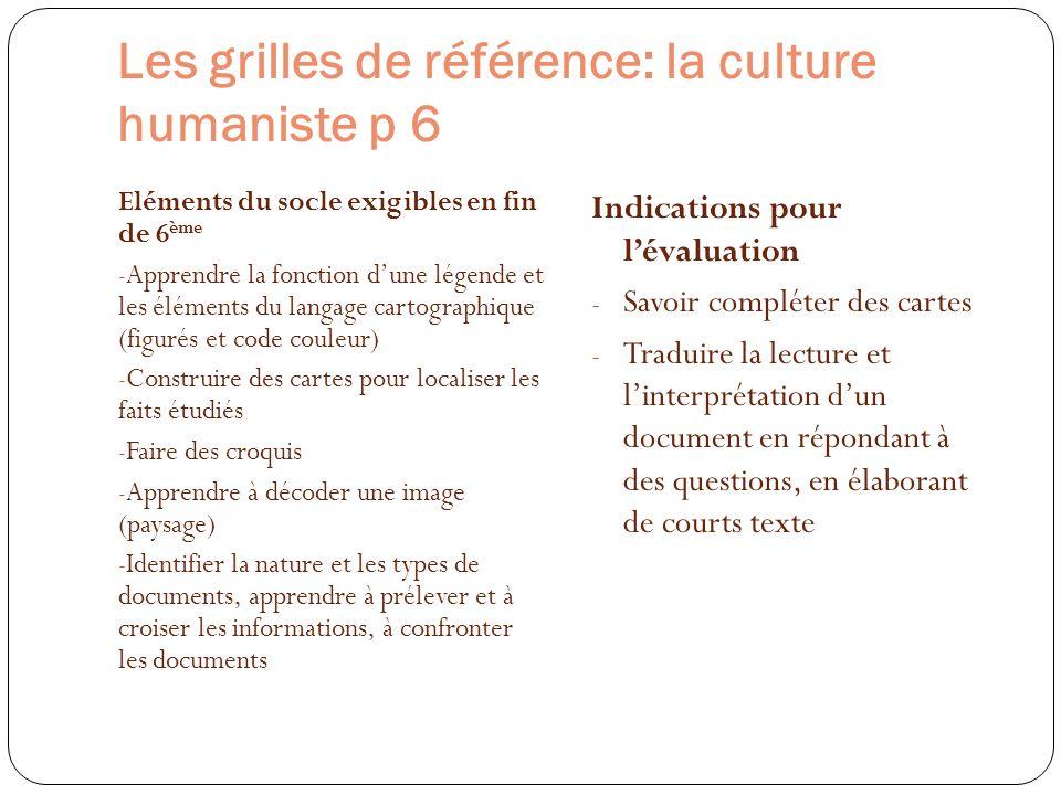 Les grilles de référence: la culture humaniste p 6 Eléments du socle exigibles en fin de 6 ème - Apprendre la fonction dune légende et les éléments du