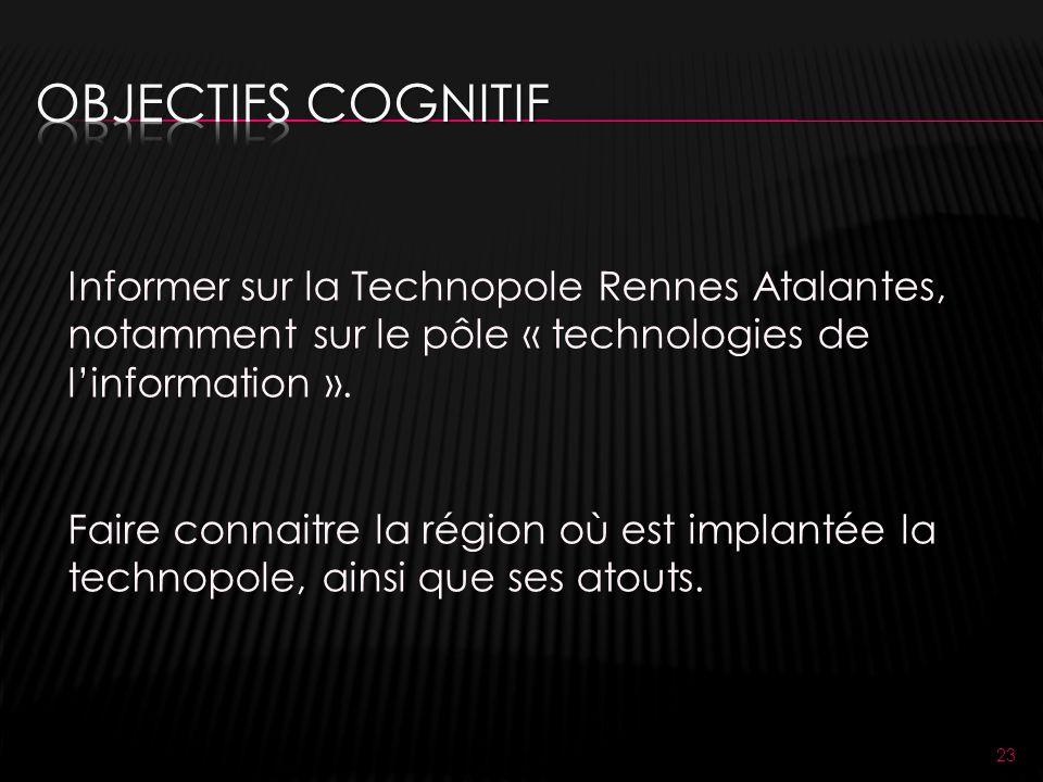 23 Informer sur la Technopole Rennes Atalantes, notamment sur le pôle « technologies de linformation ».