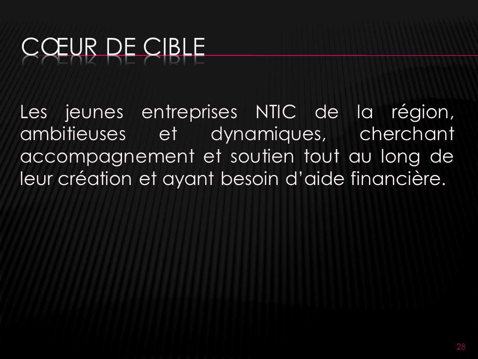 28 Les jeunes entreprises NTIC de la région, ambitieuses et dynamiques, cherchant accompagnement et soutien tout au long de leur création et ayant besoin daide financière.