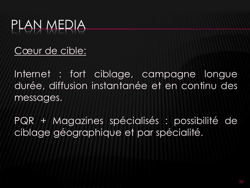 36 Cœur de cible: Internet : fort ciblage, campagne longue durée, diffusion instantanée et en continu des messages.