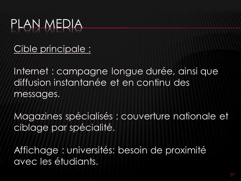 37 Cible principale : Internet : campagne longue durée, ainsi que diffusion instantanée et en continu des messages.